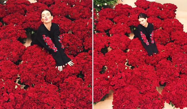 Анну Седокову «утопили» вцветах— млн. алых роз